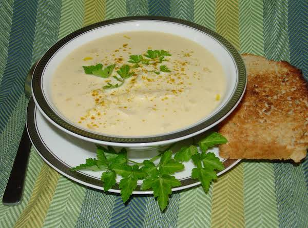 Yummy Soup With A Slice Of Pam's Asiago And Rosemary Beer Batter Bread.