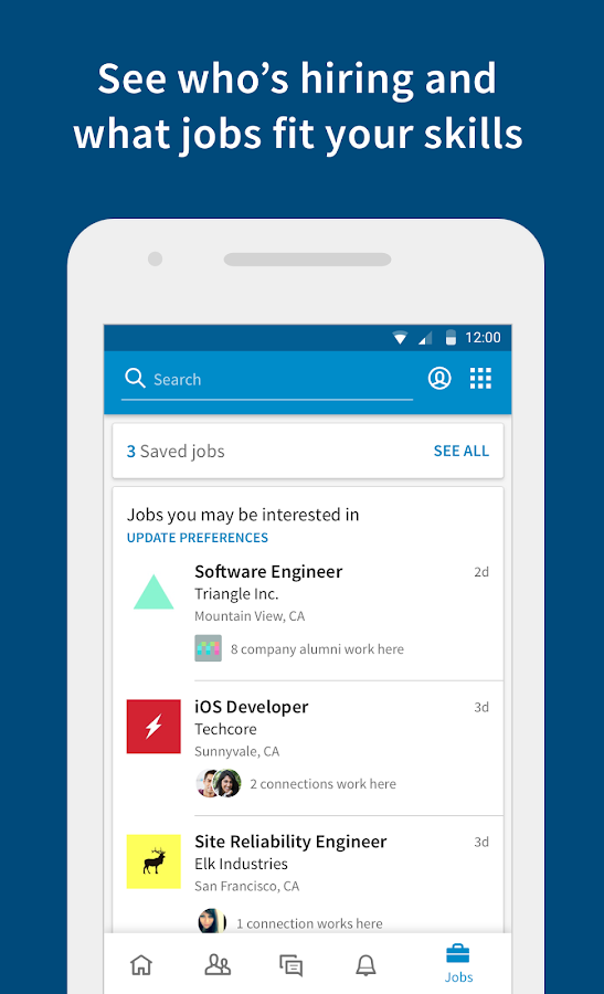 Screenshots of LinkedIn for iPhone
