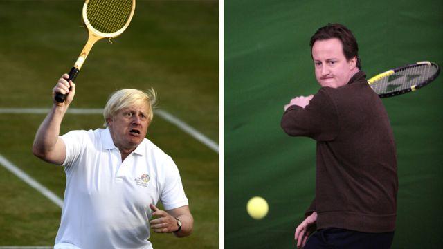 Борис Джонсон и Дэвид Кэмерон играют в теннис (фотографии 2013 и 2008 годов)
