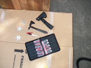 Photo: Throwing stars, knives and metal tomahawks