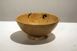 Photo: Tim Aley's box elder bowl with burl and see-through bark inclusions on one side provides an excellent example for visitors of how we prize the aesthetic of wabi sabi.