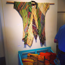 Photo: Fiber INFORM show my 'artist coat and hand spun and woven progression pillow set.