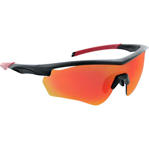 Optic Nerve Switchback Sunglasses: Matte Black/Red Tips, with Smoke/Red Flash Lens, and additional Copper and Cl