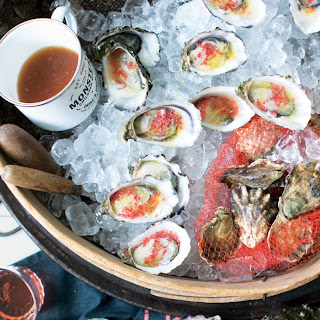 Oysters with Finger Lime and Ginger Mignonette Recipe