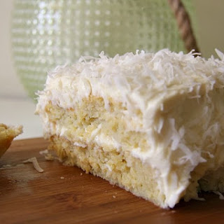 Coconut Cake with coconut cream cheese frosting.