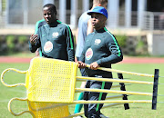 Helman Mkhalele, assistant coach of South Africa and Thabo Senong, coach of South Afric during the 2018 South Africa U20 training at University of Johannesburg Campus Soweto, Johannesburg on 09 May 2018.