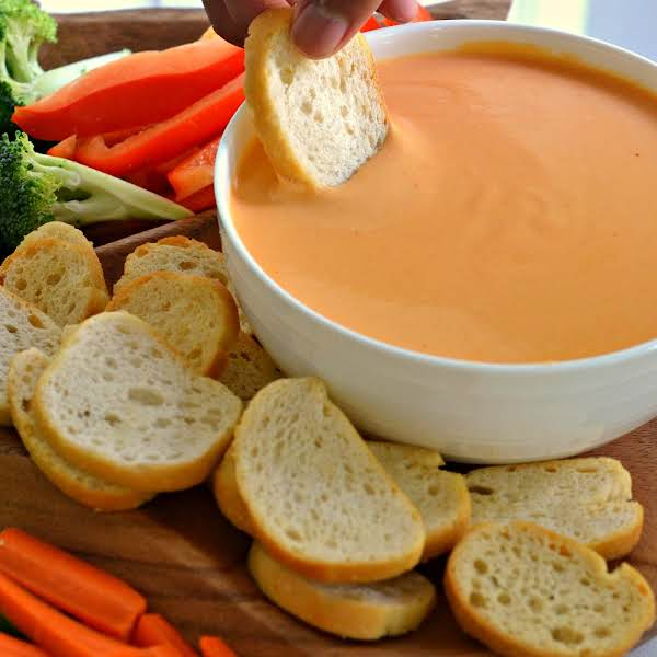 This Easy Beer Cheese Dip Is A Tasty Quick Snack Made With Eight Ingredients On The Stove Top.  It Is Delicious Served With Crostini, Pretzels, Broccoli, Pepper Wedges, Carrot And Celery Sticks.