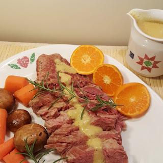 Pressure Cooker Corned Beef with White Wine Brandy Mustard Sauce Recipe