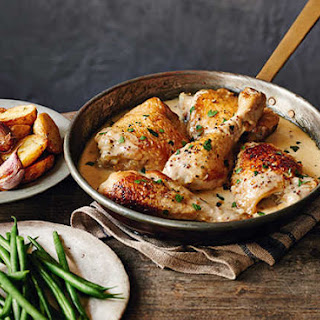 Chicken In Cider With Crème Fraîche And Potatoes.