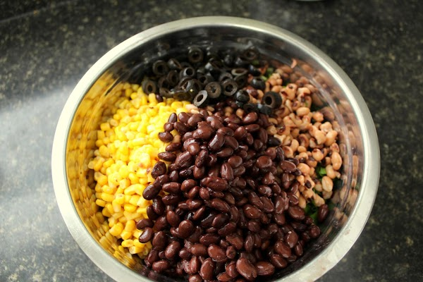 Rinse and drain the beans, peas and corn and add them to the fresh...