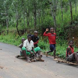 Go-kart Race by DJ Cockburn - Babies & Children Children Candids ( playing, mpingwe, toy, racing, blantyre, children, go-kart, forest, kids, malawi, race,  )