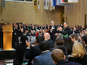 Photo: Charlotte's speech received a standing ovation, led by Justice Ralph Gants of the Supreme Judicial Court (right).
