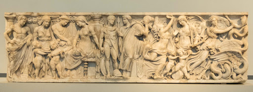 Marble relief on a sarcophagus from Rome shows four scenes from Greek myth depicting wedding and death, happiness and sorrow, dating to 140-150 A.D. at the Altes Museum in Berlin.