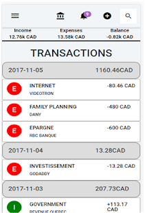 Ensea Bill - Your Money Manager Application - náhled