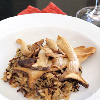 Roasted King Oyster Mushrooms with Garlic Rice Pilaf.