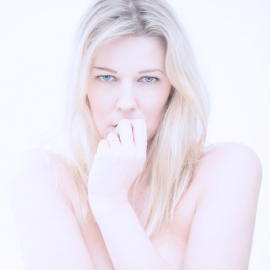 Bewitching glance by Johannes Oehl - Nudes & Boudoir Artistic Nude ( one woman only, person, nude, martin-schultz scale, bust, fair skin, blonde hair, one female adult only, chest, grownup, light blonde hair, people-photography, skin, hand, blank expression, young woman, sexy, grown up, young adult, woman, studio-photography, looking at camera, light eyes, blue eyes, underarm, arm, 03 blue-gray iris, hair, adult-photography, blond hair, long hair, long haired, white background, adult, one young woman only, high key, 1 person, loose hair, lower arm, female, naked, shoulder, upper-arm, 25-30 years, female hairstyle,  )