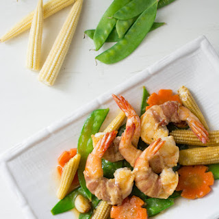 Bacon Wrapped Shrimp with Vegetables