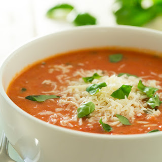 Creamy Tomato Basil Soup with Roasted Garlic and Asiago Cheese