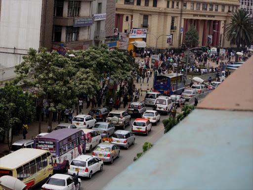 Traffic jam along Moi Avenue street. FILE