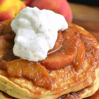 Peaches and Cream Fluffy Buttermilk Pancakes