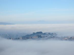 Photo: Floating hillside in the fog