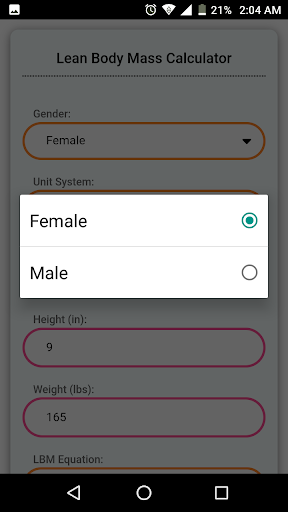 Lean Body Mass Calculator 6.0 screenshots 2