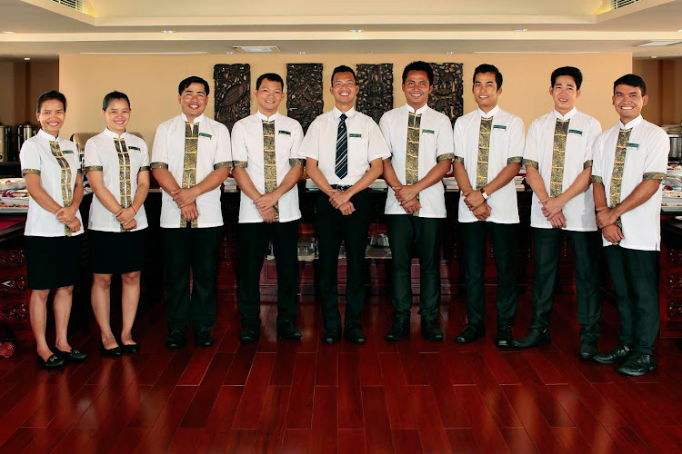 Crew members and waiters on the staff of AmaDara.