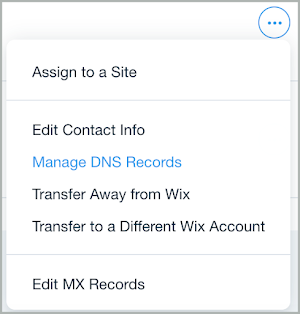 Manage DNS Records is selected from the More drop-down list.