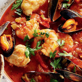 Monkfish, Mussel and Prawn Stew with Char-grilled Sourdough (Cioppino).