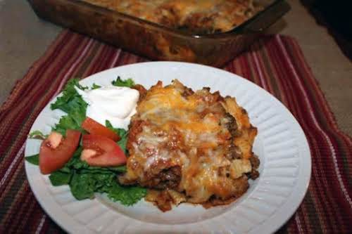 """Enchilacomalejita Casserole (Mexican Casserole)""""I made this tonight, I left out the bell..."""