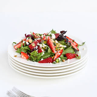 Strawberry, Pistachio, Feta Cheese & Basil Salad.
