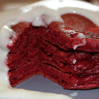 Red Velvet Pancakes with Cream Cheese Glaze.