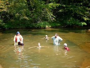 Photo: Everyone looking at me for finally getting all the way in the water! Nicole, Stephanie, Dusty & Carl.