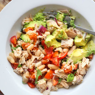 Tuna, Avocado, Tomato and Cannellini Bean Salad.