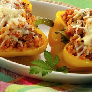 Beef & Cheddar Stuffed Peppers