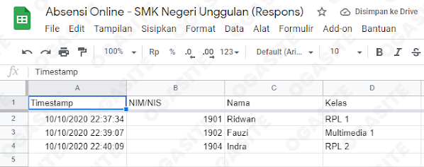 Hasil dari tampilan google spreadsheet