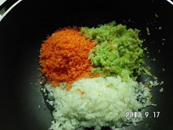 I chopped the carrots, onion, and garlic separately in my food processor and added...