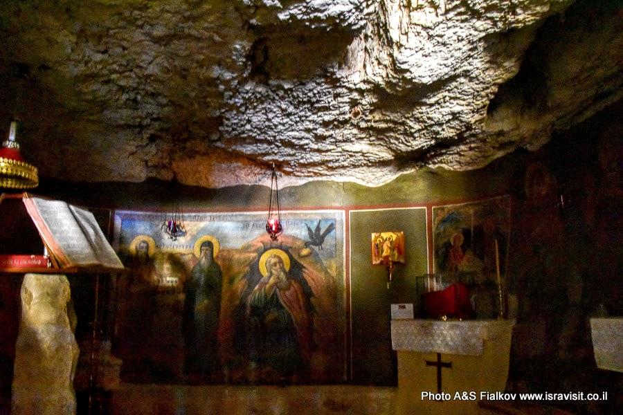 Пещера святого Ильи Пророка в монастыре Георгия Хозевита. Израиль, Вади Кельт.