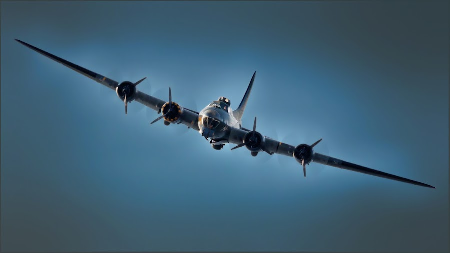 Flying Fortress in blue by Stephen Crawford - Transportation Airplanes ( airplane, flying fortress, blue toning, prestwick, ayr, air show,  )