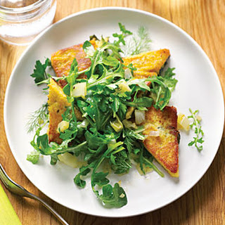 Chickpea Cake with Fava Leaves and Arugula Salad