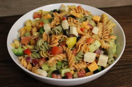"""Colorful Party Pasta Salad """"Wow, this is a pasta salad recipe! There..."""
