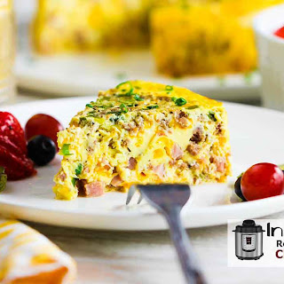 Instant Pot Cheesy Sausage and Ham Frittata.