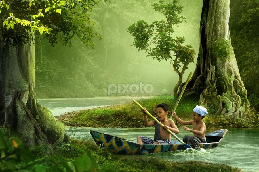 landed by Budi Cc-line - Digital Art People ( greeny, indonesia, children, forest, waterspace )
