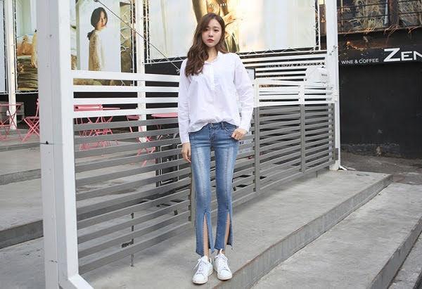 Phối Áo sơ mi + quần jeans skinny + giày thể thao 44