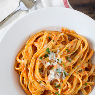 Roasted Garlic and Red Pepper Fettucine Alfredo.