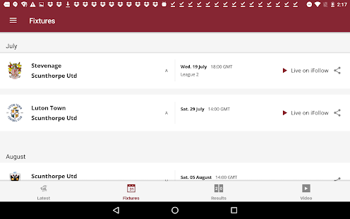 Scunthorpe United Official App- screenshot thumbnail