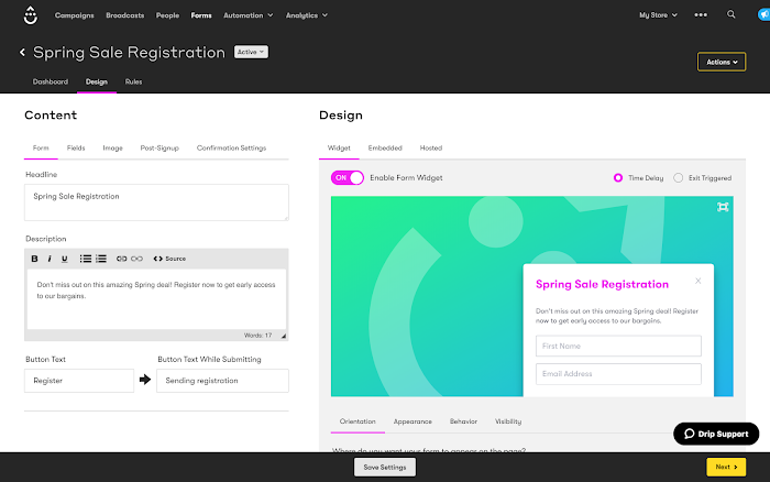 A form's Design tab.