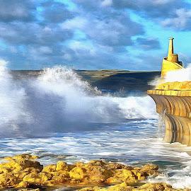 Storm over Malta by James Morris - Digital Art Places ( seascape, storm, malta, maltese islands, gozo, water, giant wave, sea,  )