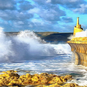 Storm over Malta by James Morris - Digital Art Places ( seascape, storm, malta, maltese islands, gozo, water, giant wave, sea,  )
