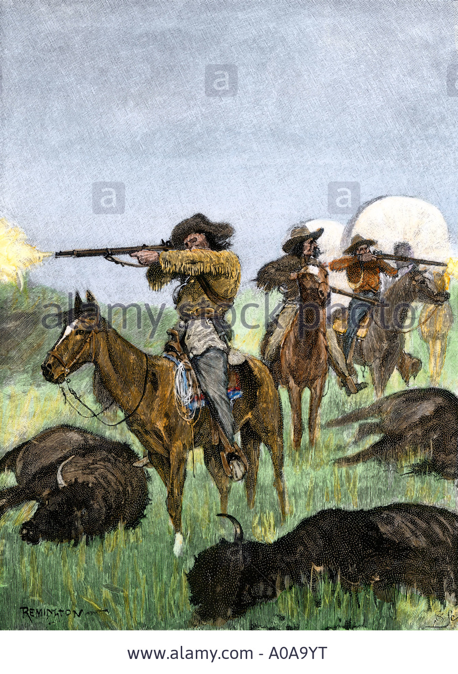 Buffalo hunters accompanying covered wagons on the Oregon Trail 1800s Stock Photo